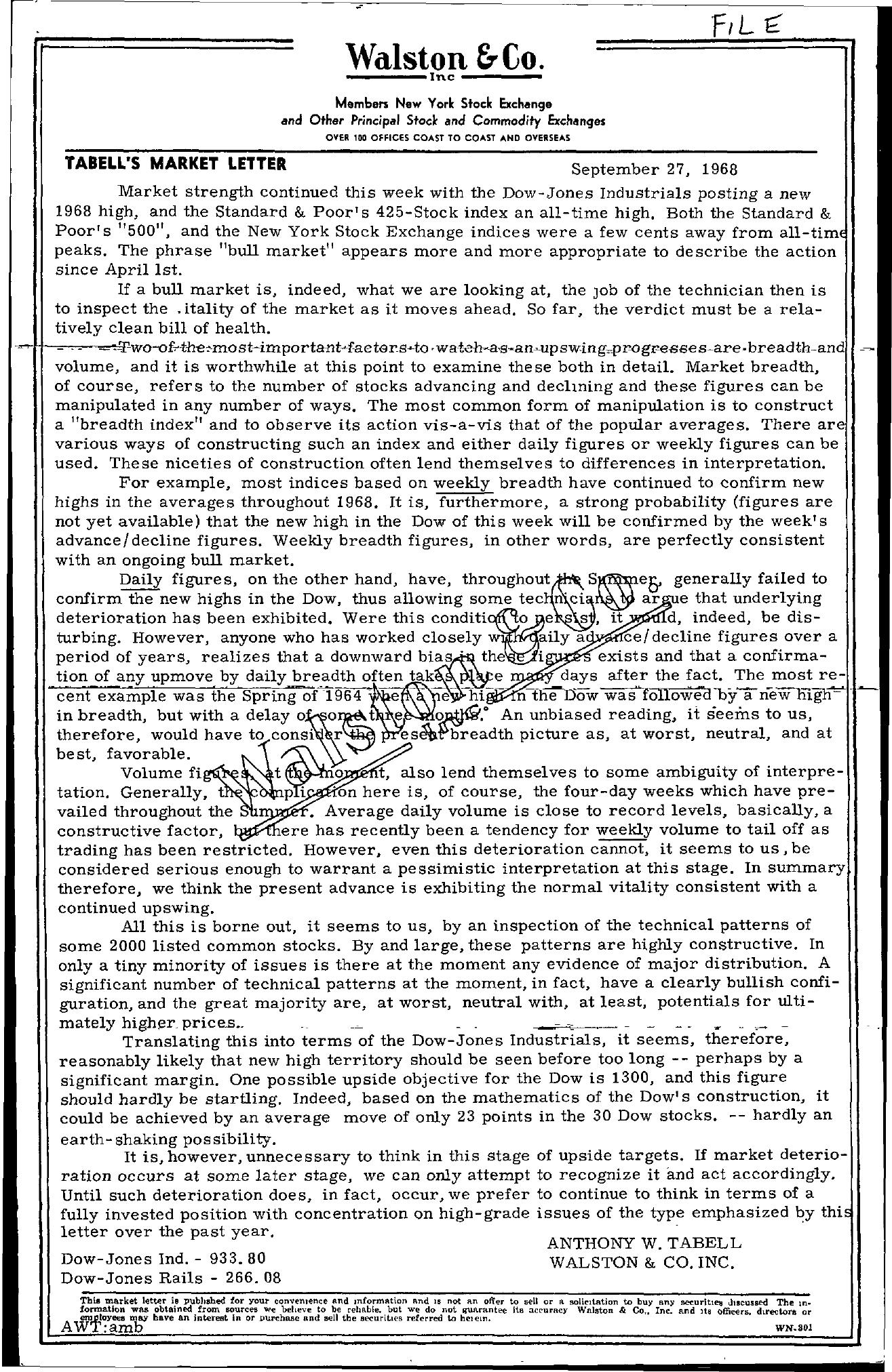Tabell's Market Letter - September 27, 1968