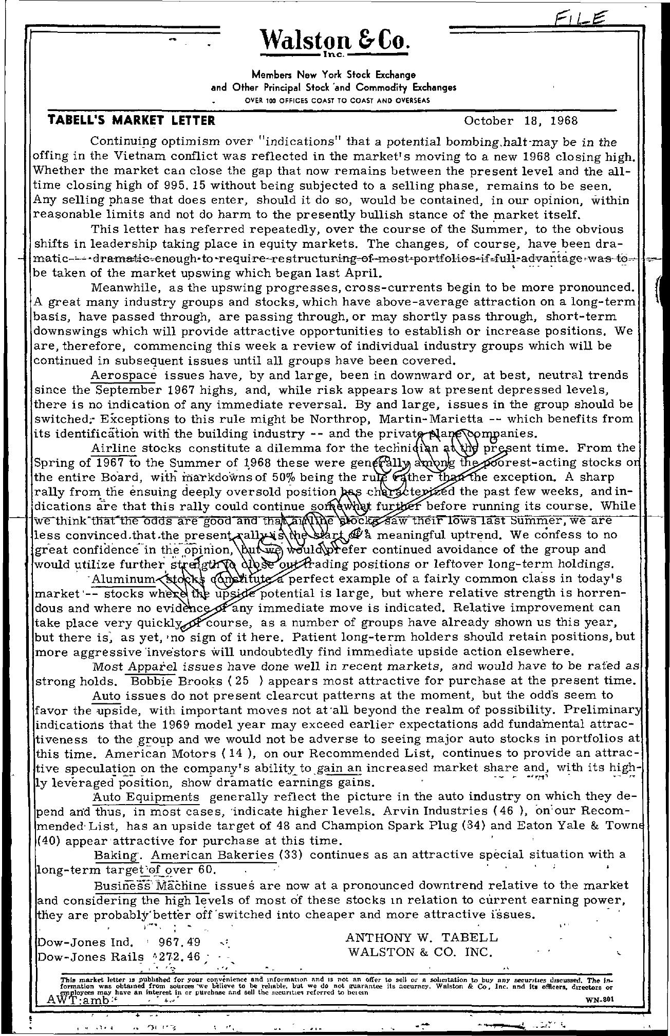 Tabell's Market Letter - October 18, 1968