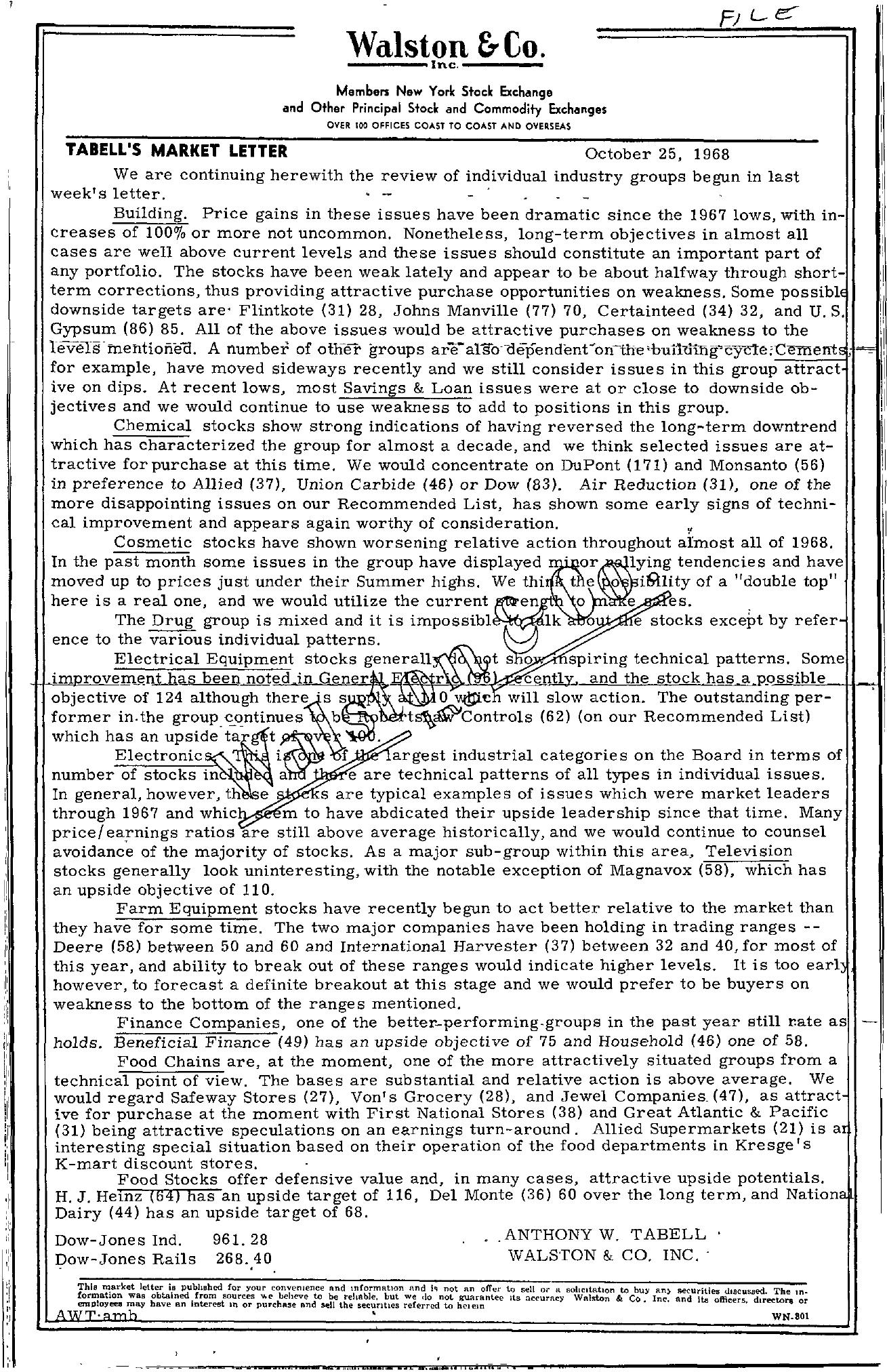 Tabell's Market Letter - October 25, 1968
