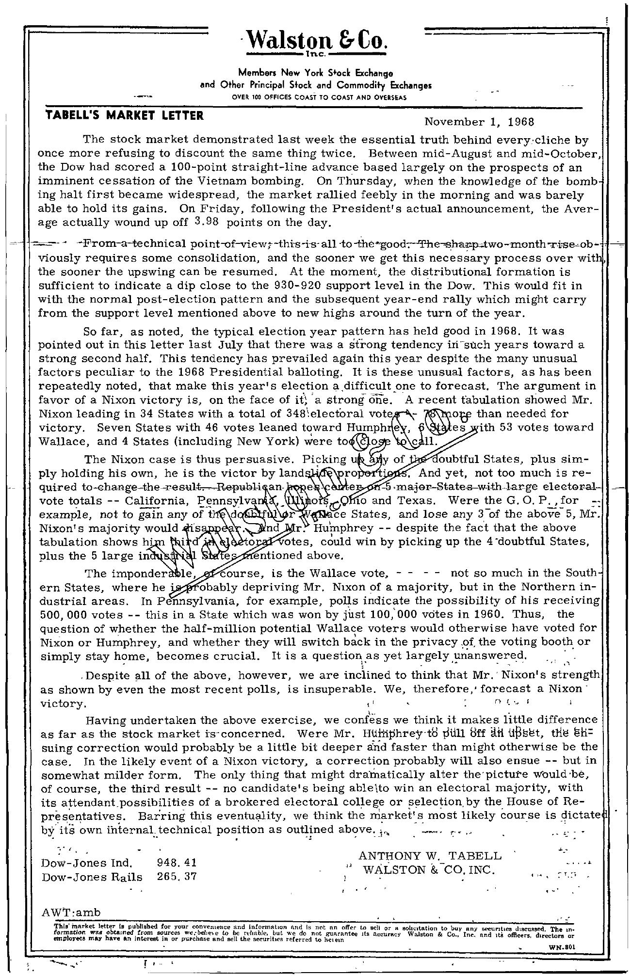 Tabell's Market Letter - November 01, 1968
