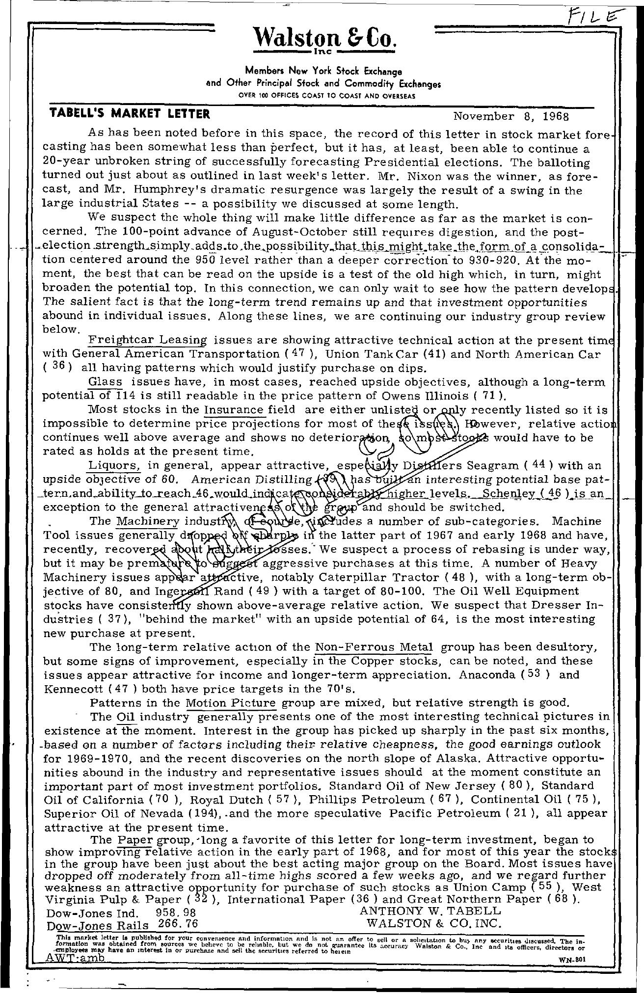 Tabell's Market Letter - November 08, 1968