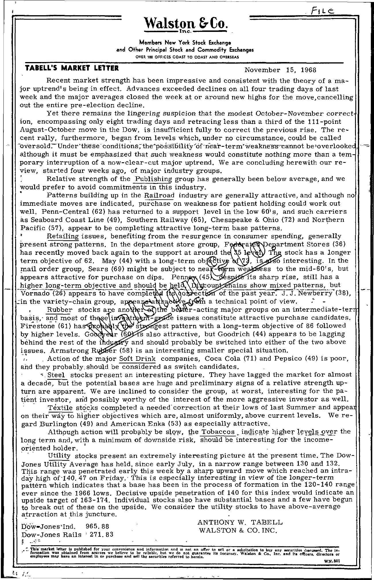 Tabell's Market Letter - November 15, 1968