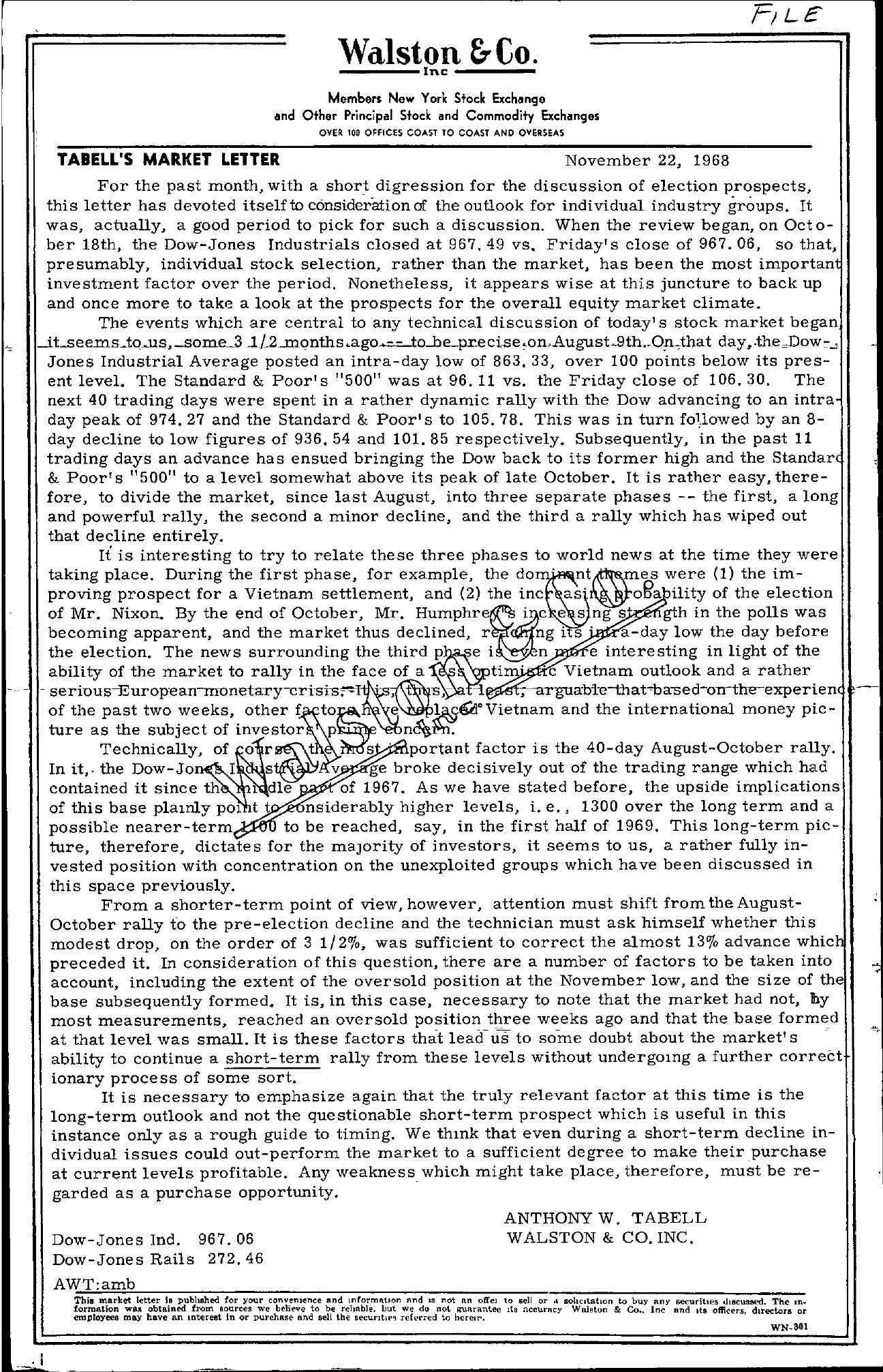 Tabell's Market Letter - November 22, 1968