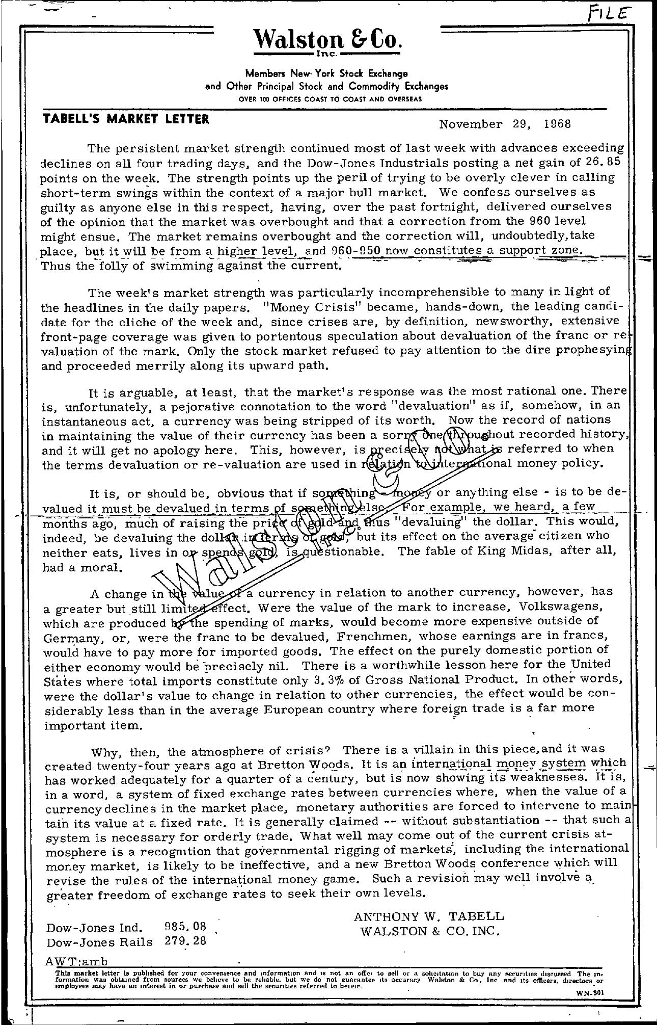 Tabell's Market Letter - November 29, 1968