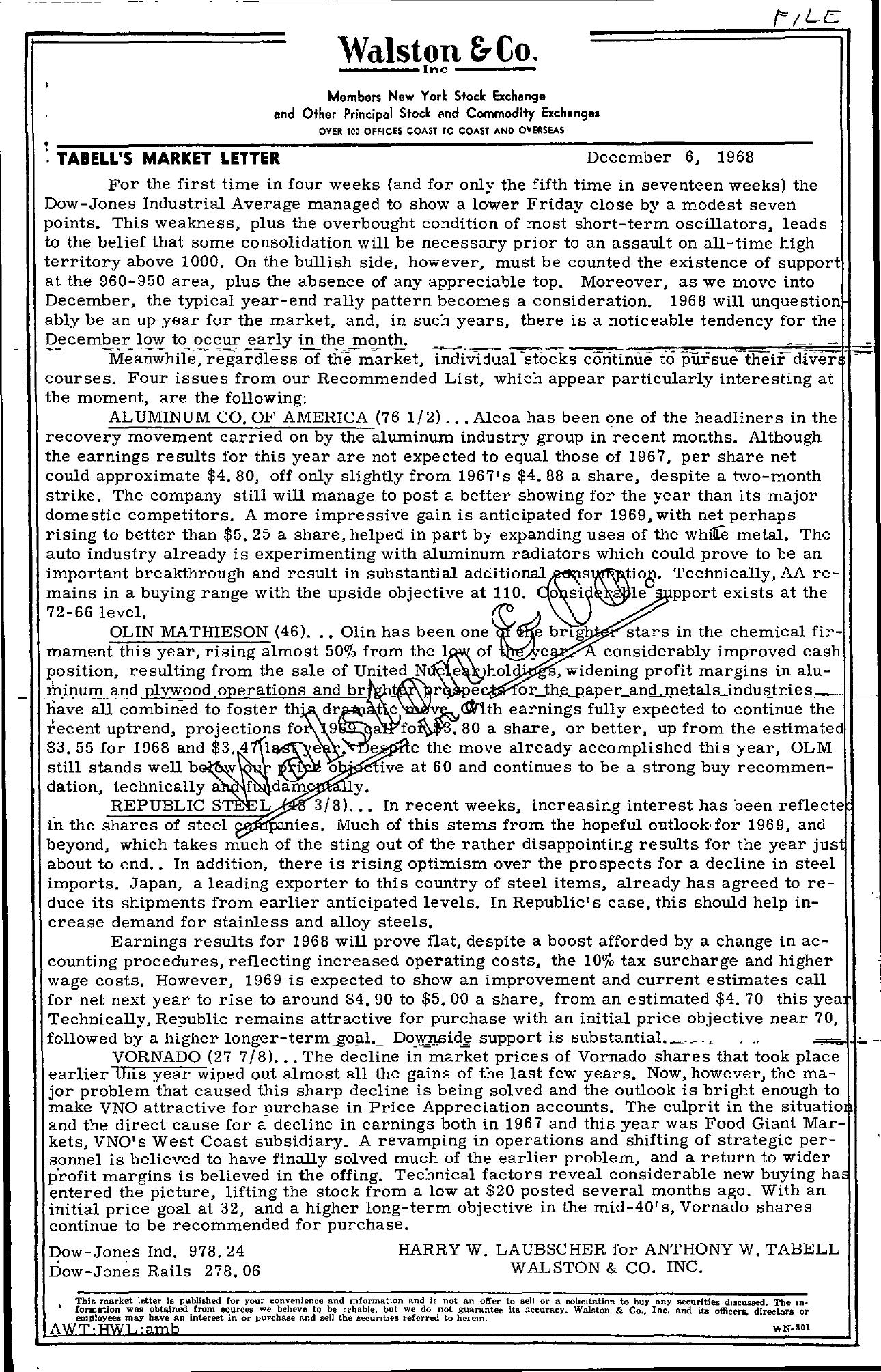 Tabell's Market Letter - December 06, 1968