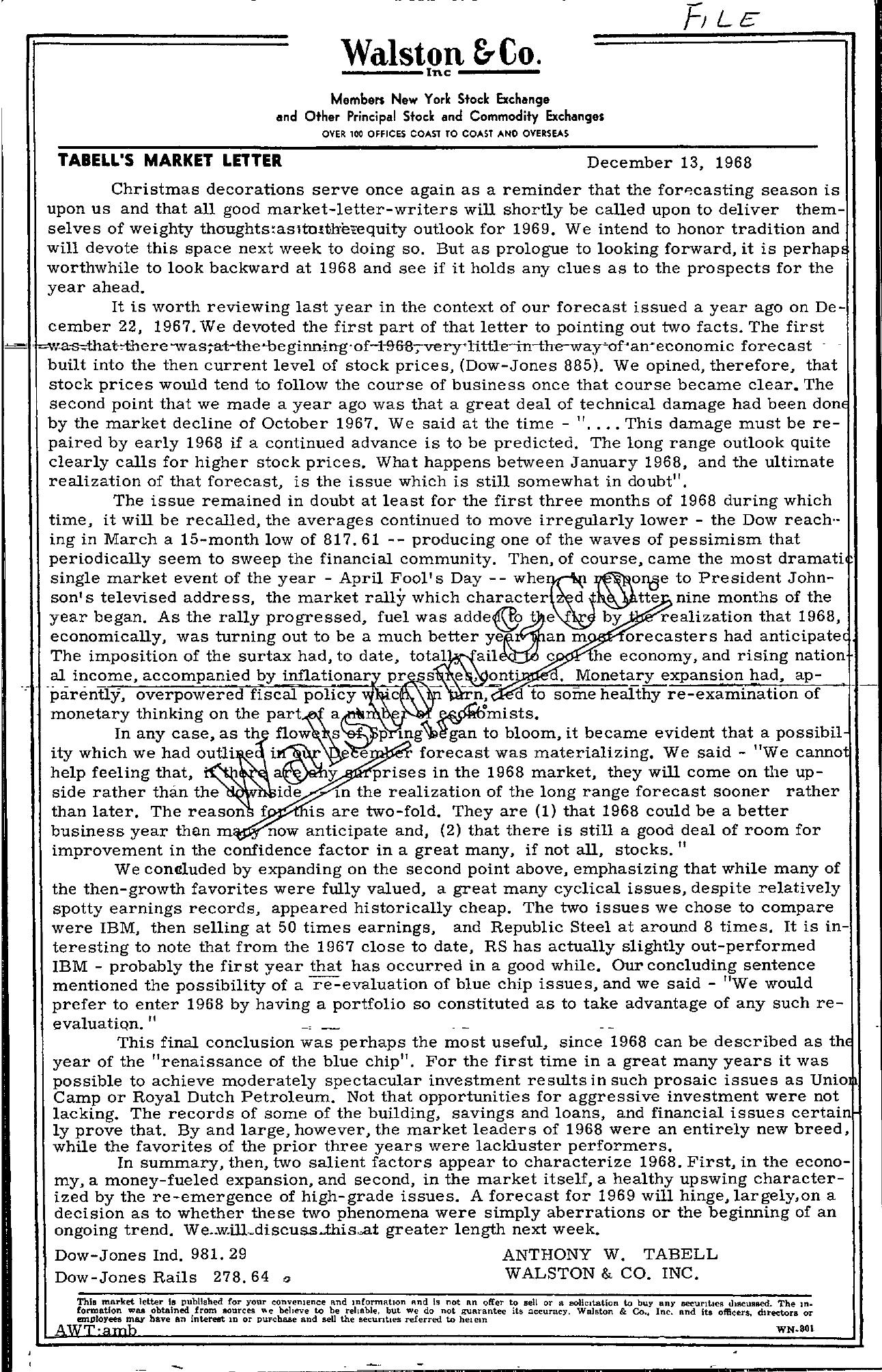 Tabell's Market Letter - December 13, 1968