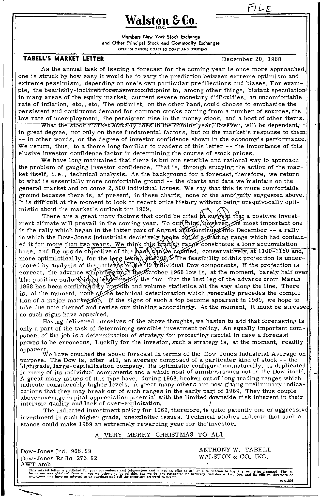 Tabell's Market Letter - December 20, 1968