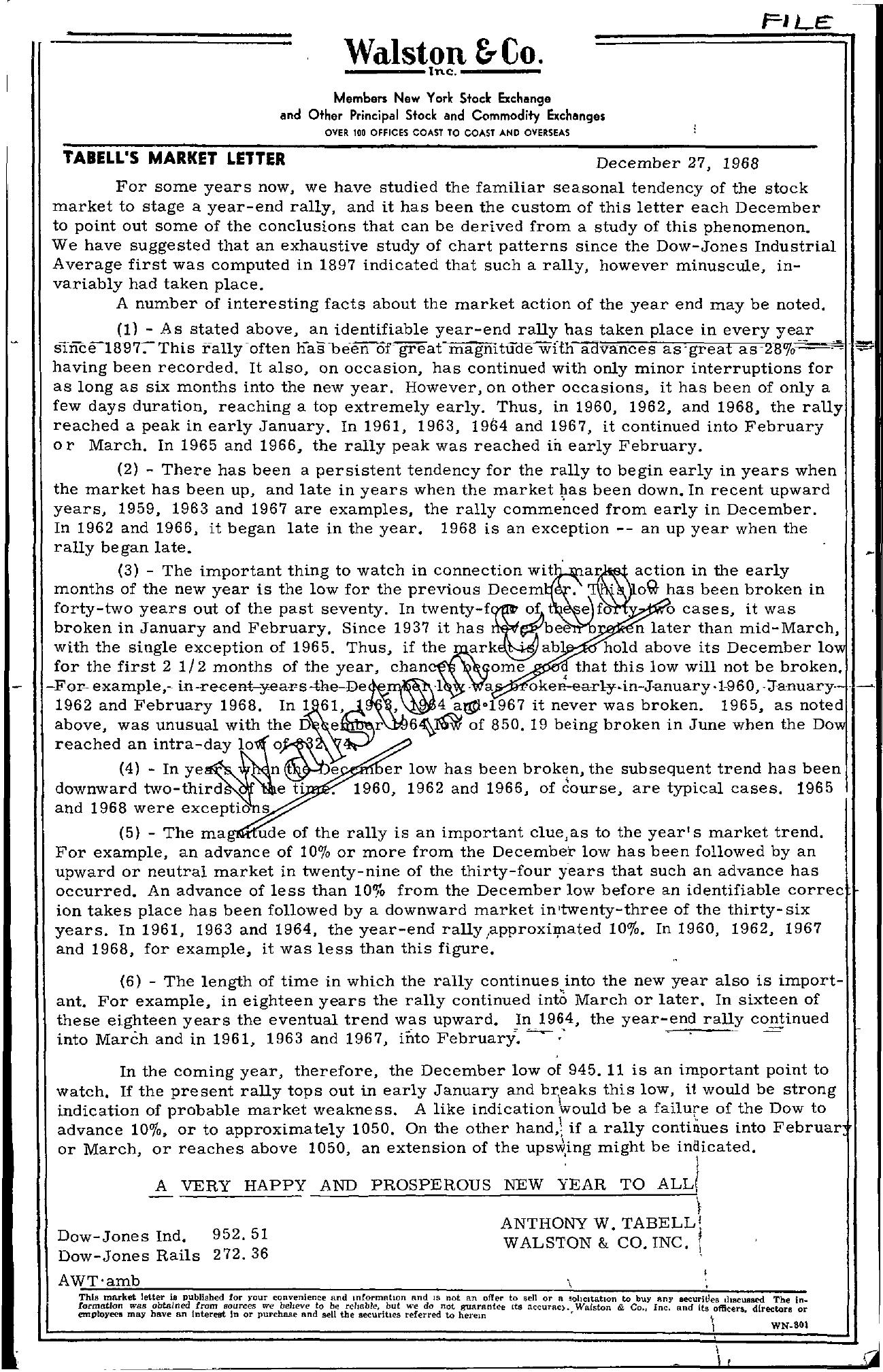 Tabell's Market Letter - December 27, 1968