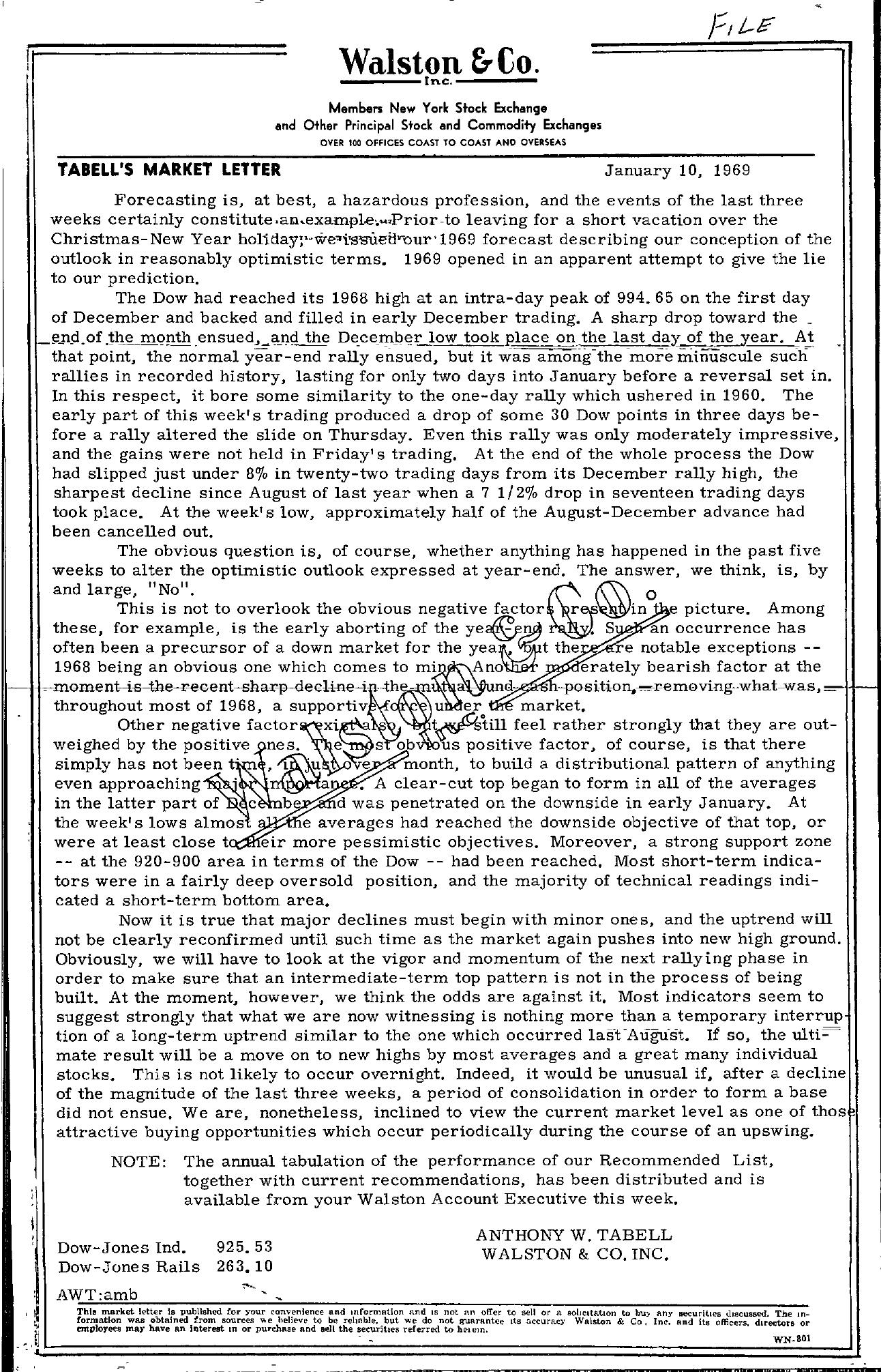 Tabell's Market Letter - January 10, 1969