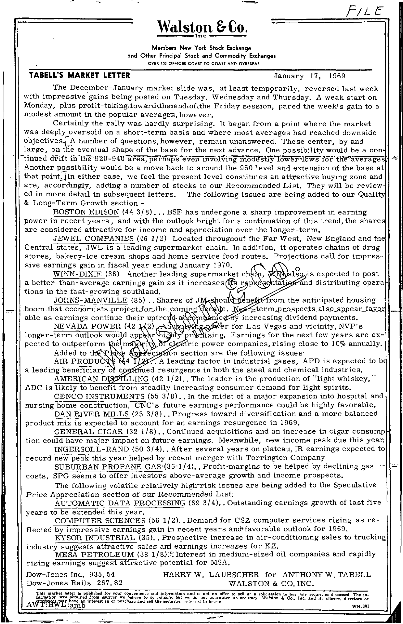 Tabell's Market Letter - January 17, 1969