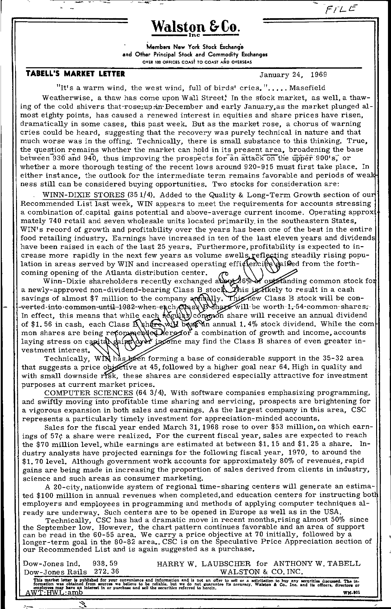 Tabell's Market Letter - January 24, 1969