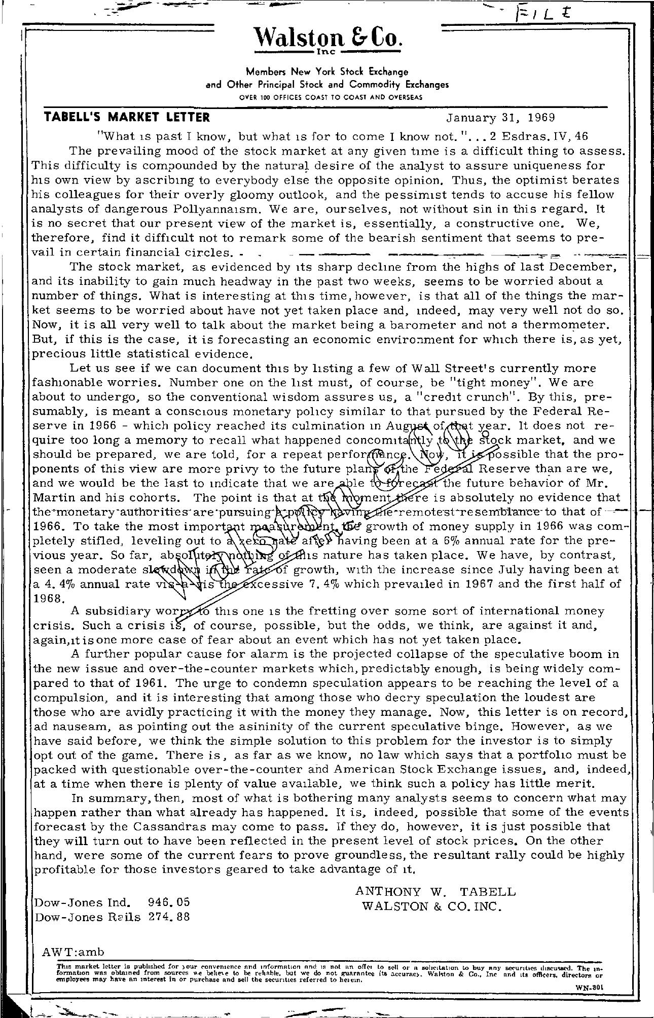 Tabell's Market Letter - January 31, 1969