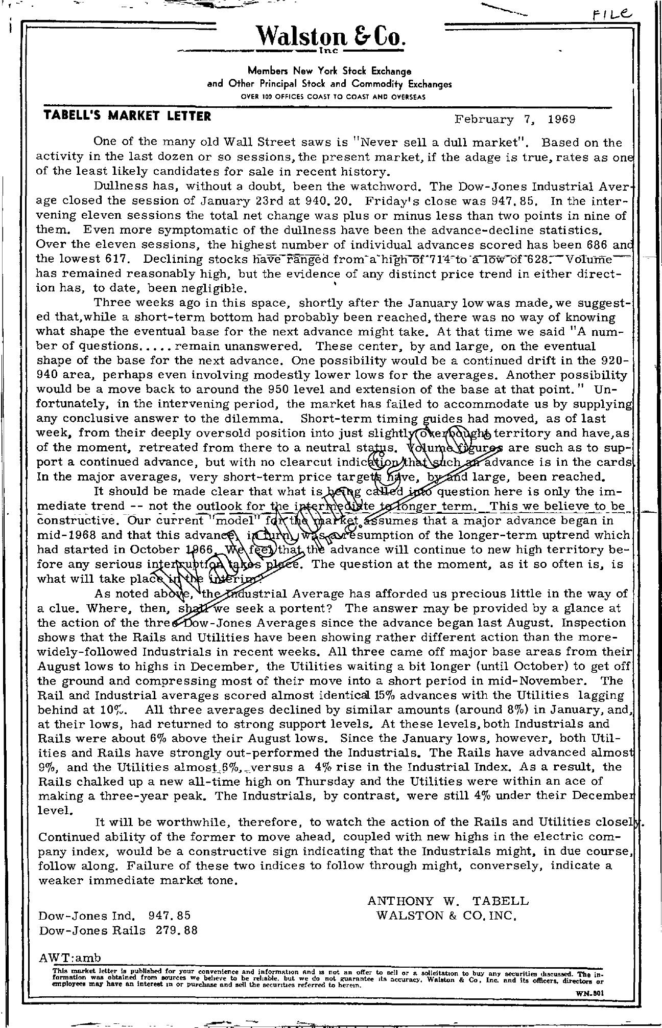 Tabell's Market Letter - February 07, 1969
