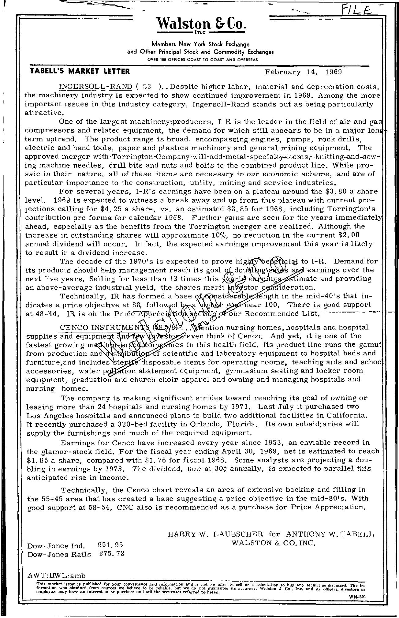 Tabell's Market Letter - February 14, 1969