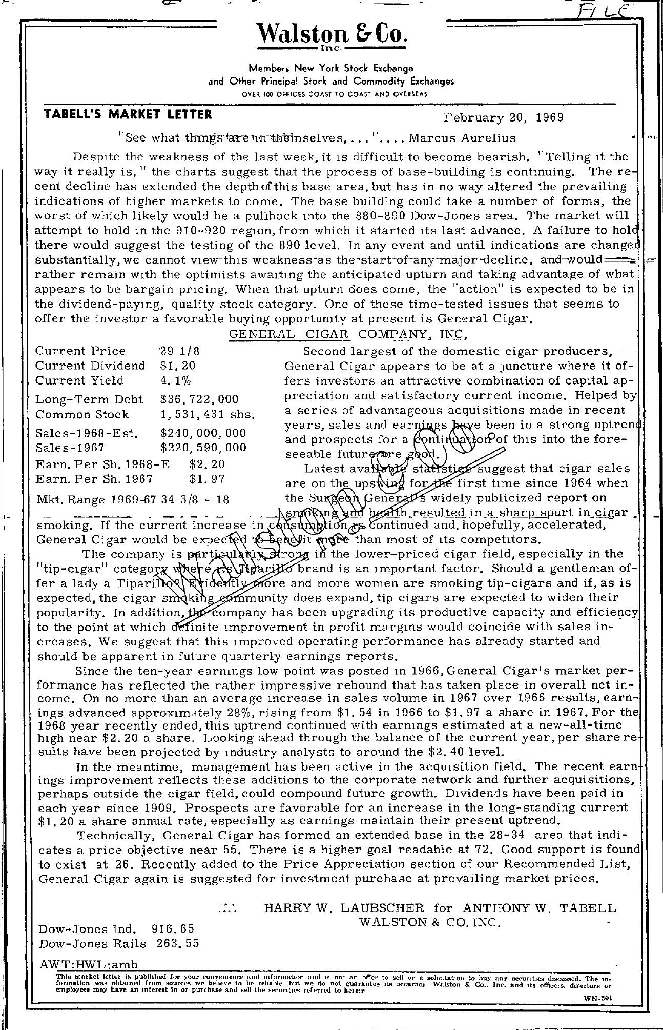Tabell's Market Letter - February 20, 1969