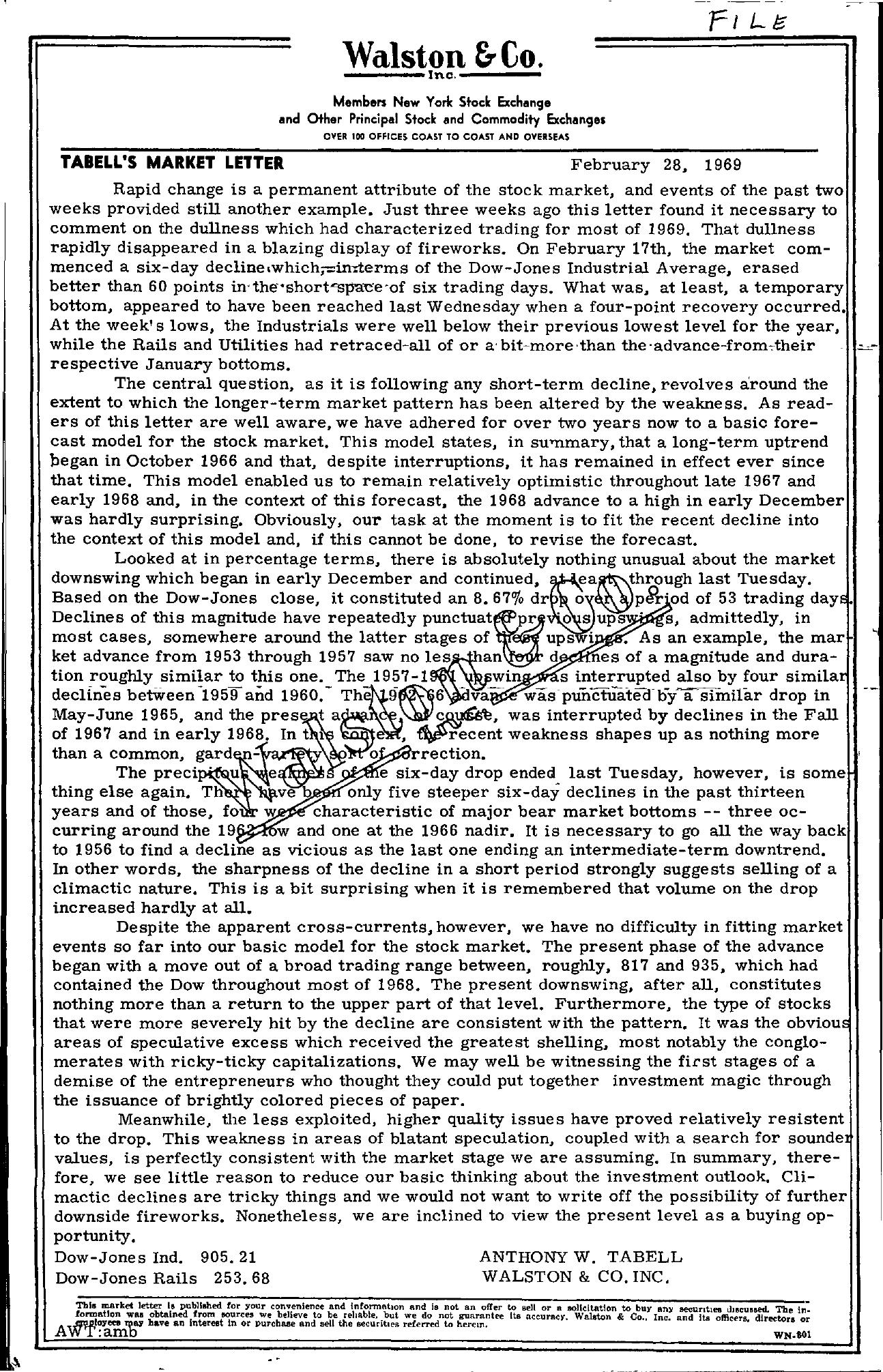 Tabell's Market Letter - February 28, 1969