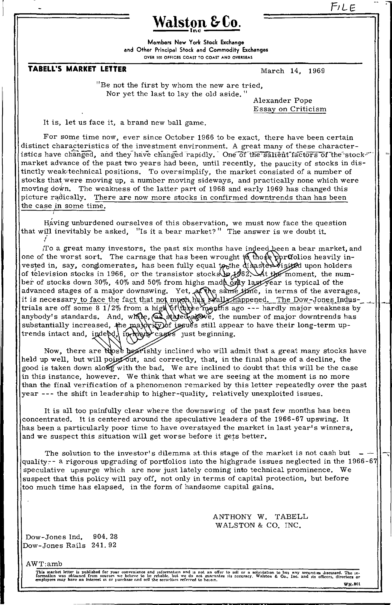Tabell's Market Letter - March 14, 1969