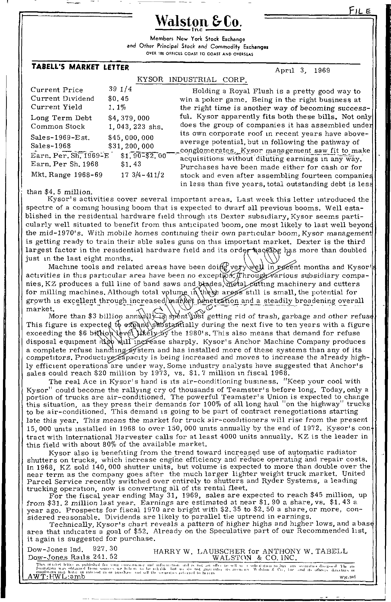 Tabell's Market Letter - April 03, 1969