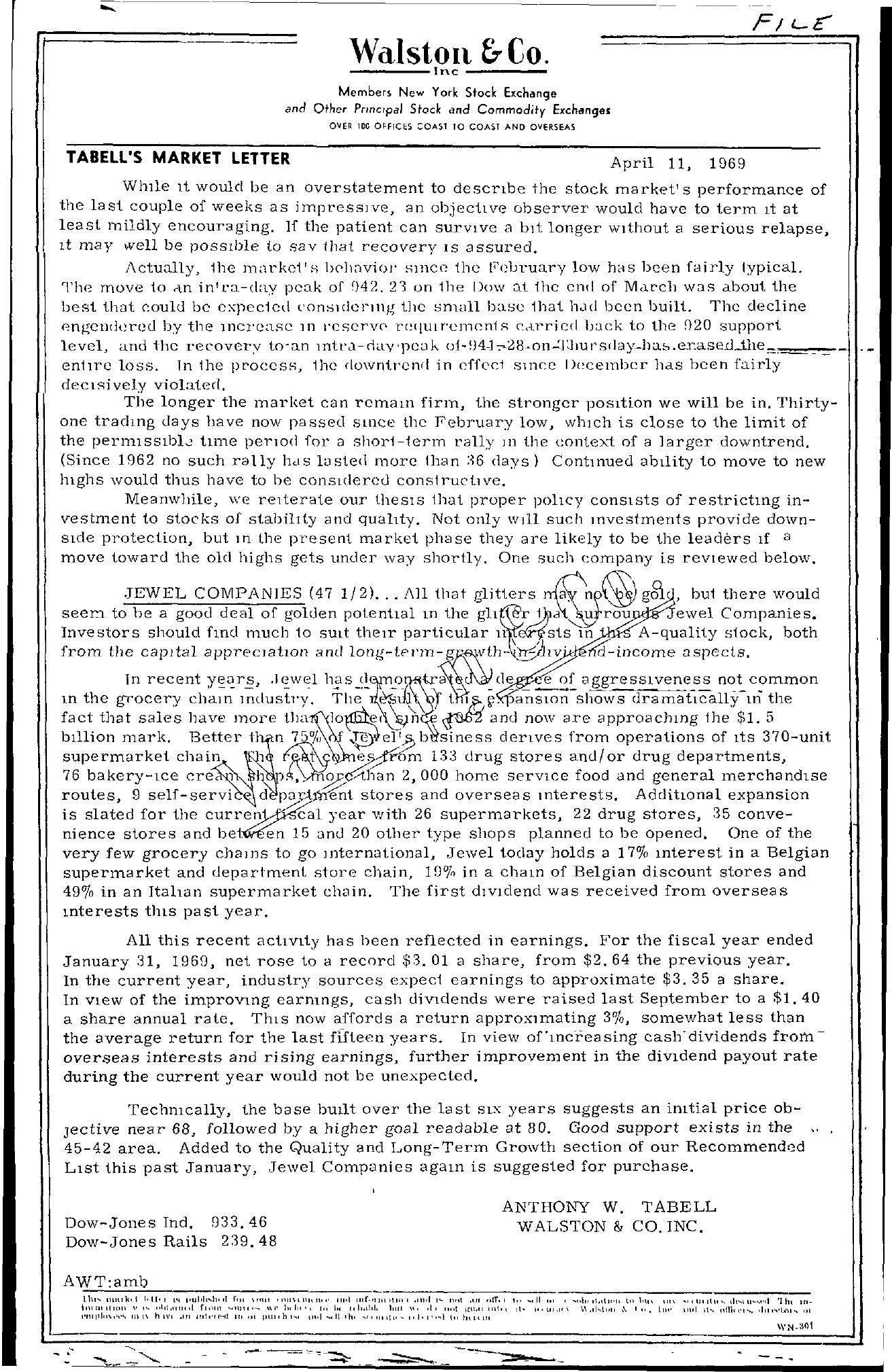 Tabell's Market Letter - April 11, 1969