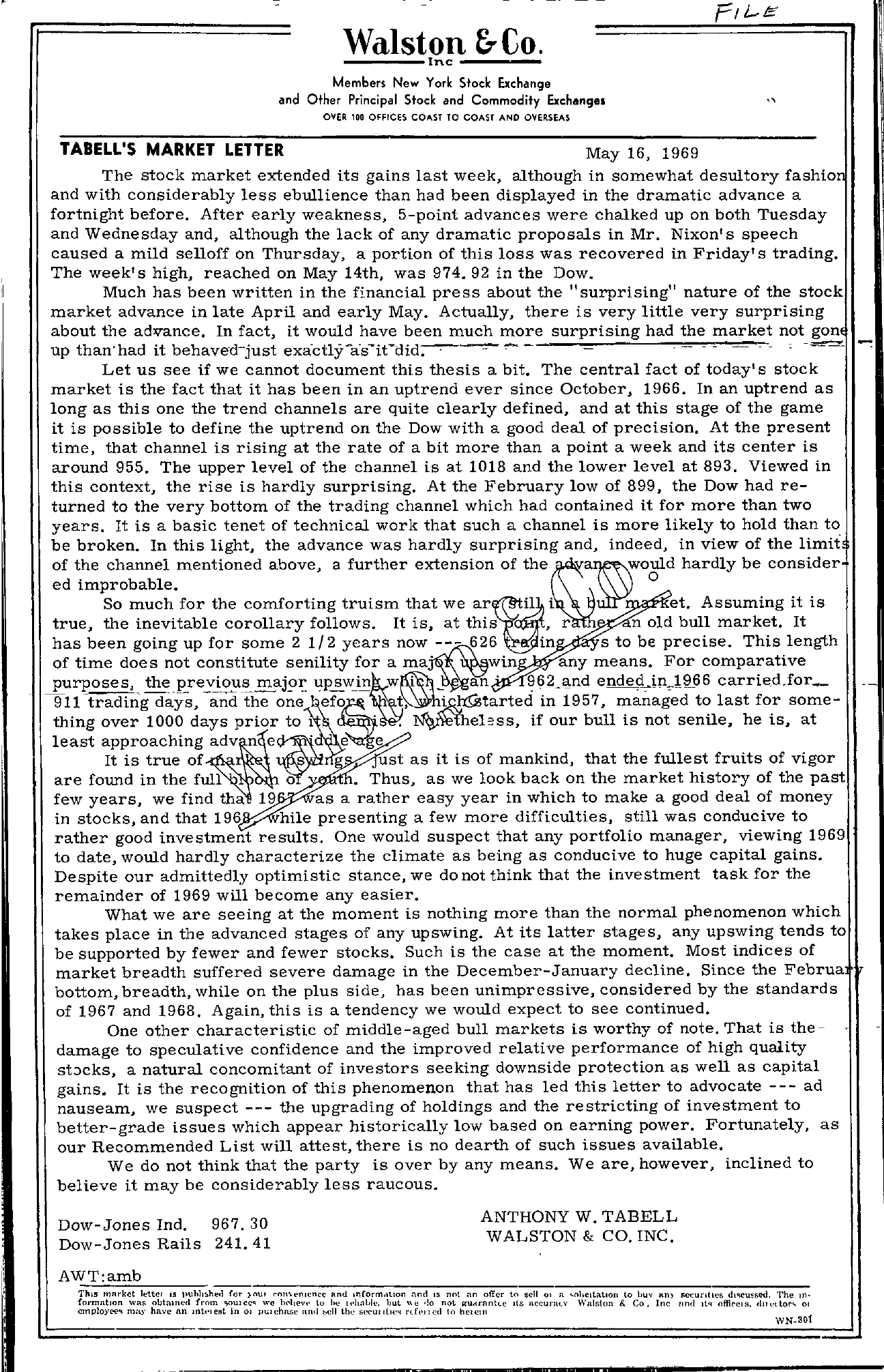 Tabell's Market Letter - May 16, 1969