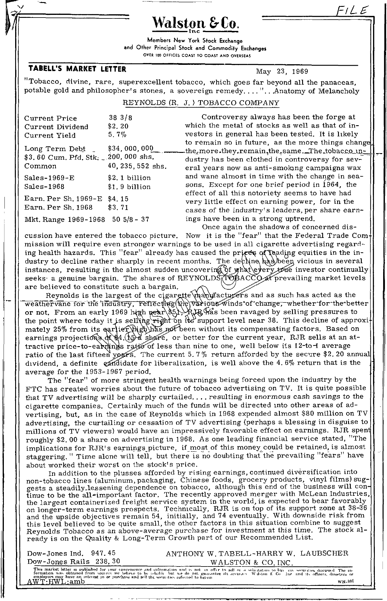 Tabell's Market Letter - May 23, 1969