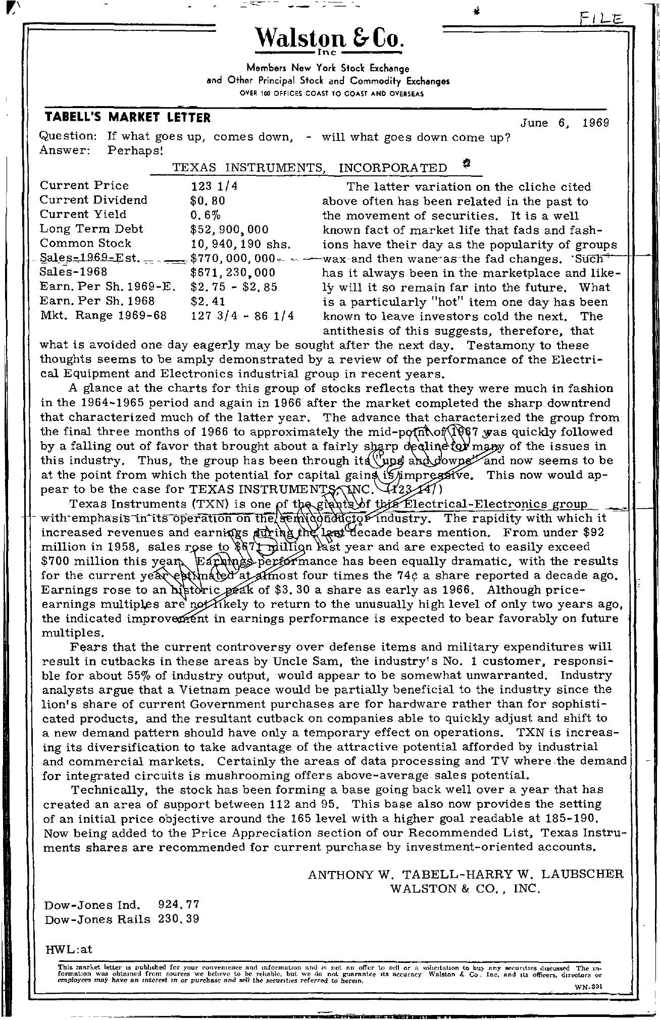 Tabell's Market Letter - June 06, 1969