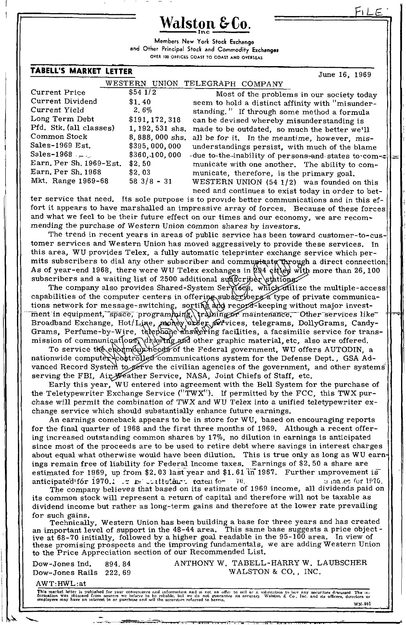 Tabell's Market Letter - June 16, 1969