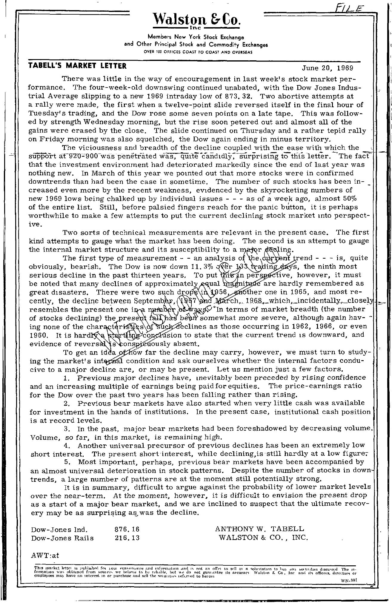 Tabell's Market Letter - June 20, 1969