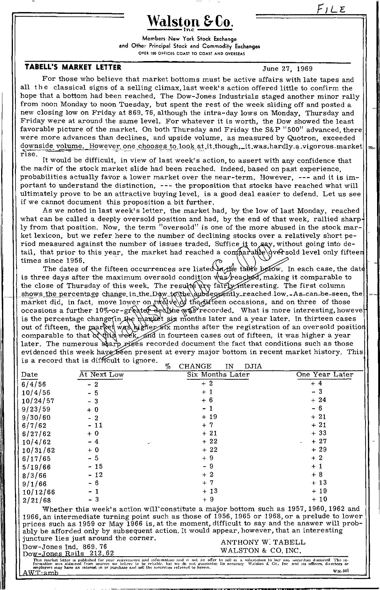 Tabell's Market Letter - June 27, 1969