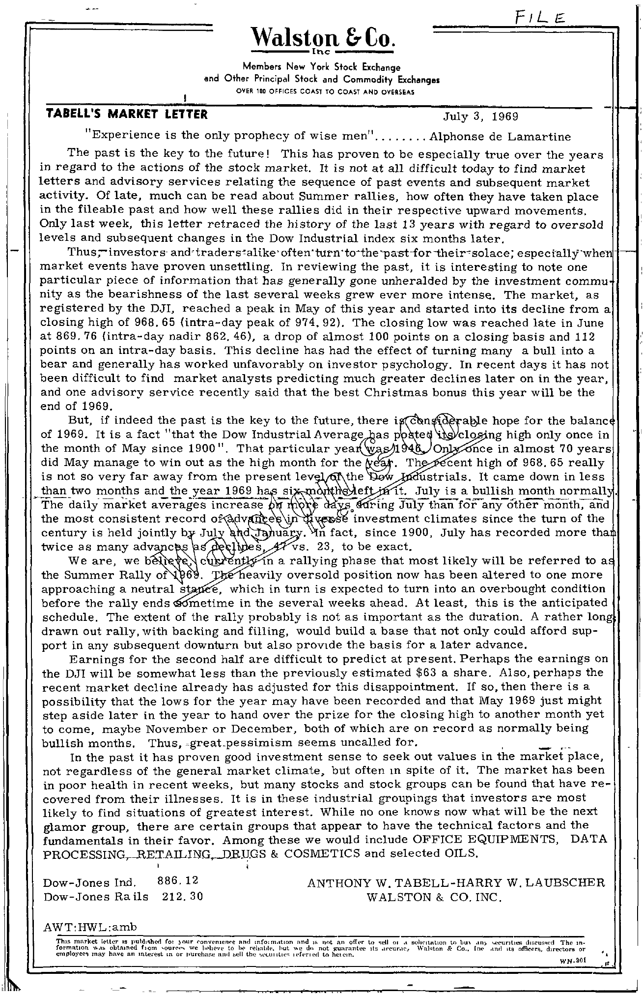 Tabell's Market Letter - July 03, 1969