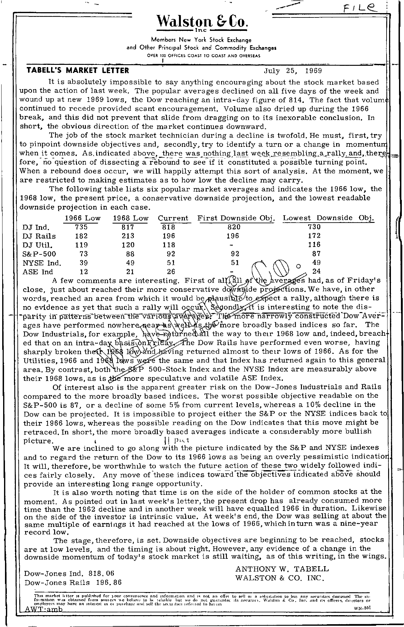Tabell's Market Letter - July 25, 1969