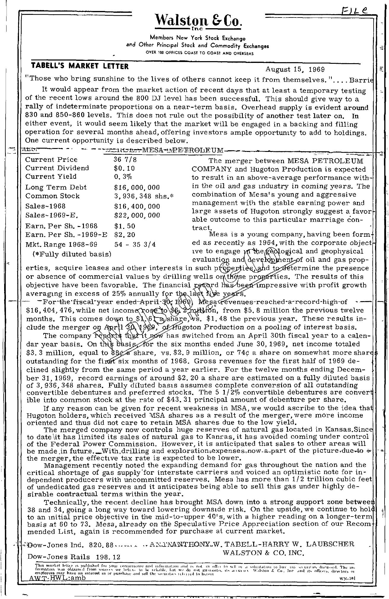 Tabell's Market Letter - August 15, 1969