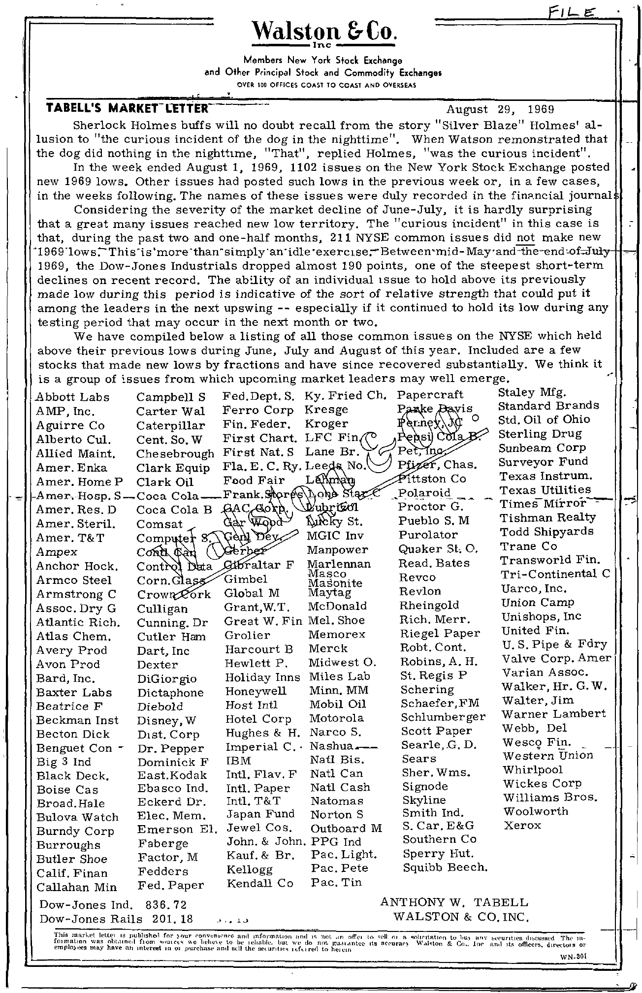 Tabell's Market Letter - August 29, 1969