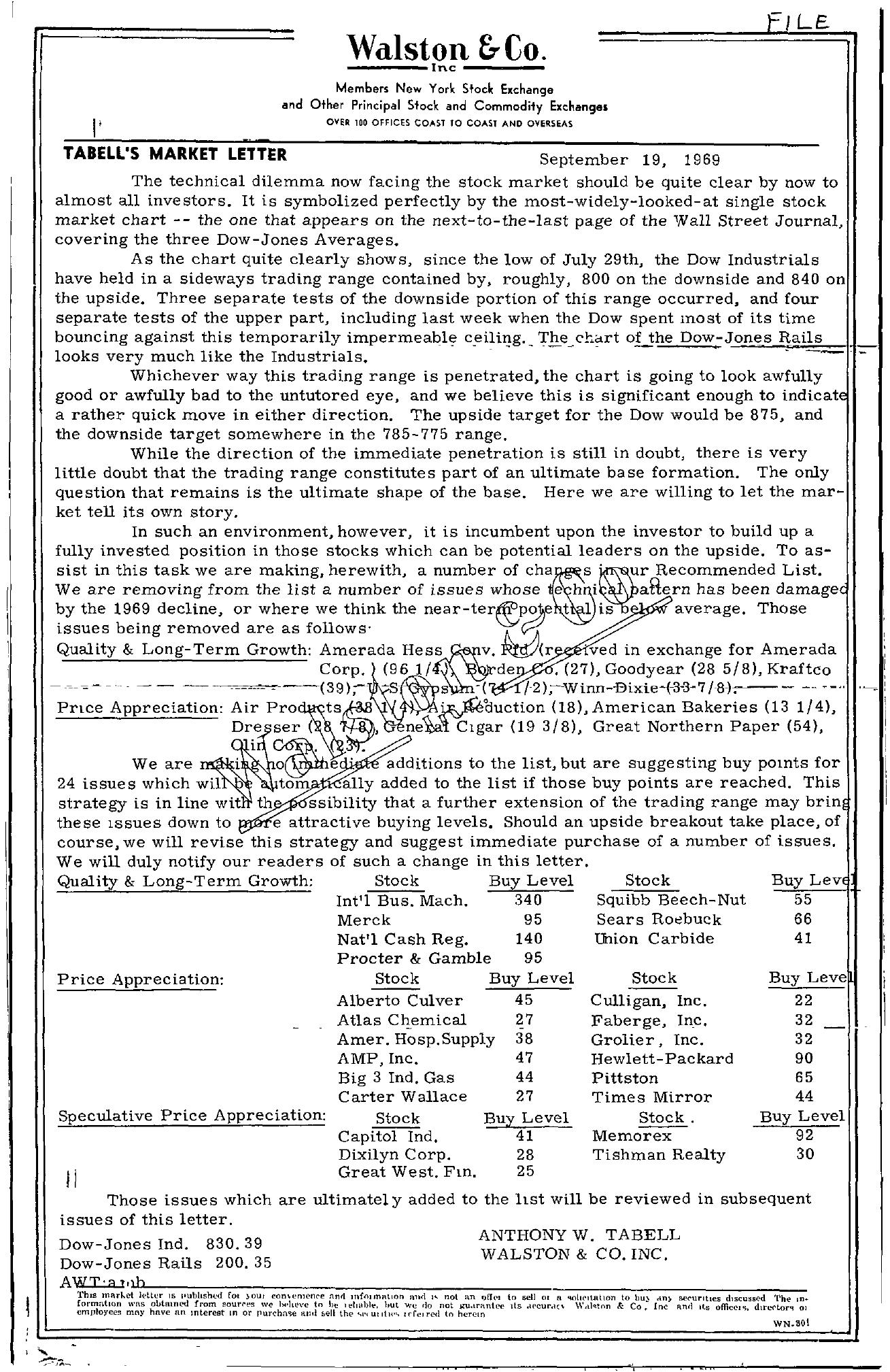 Tabell's Market Letter - September 19, 1969