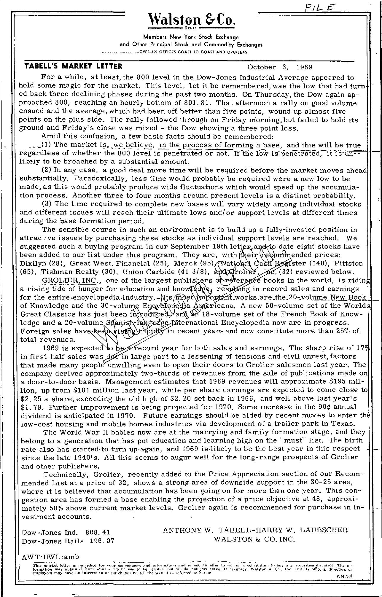 Tabell's Market Letter - October 03, 1969