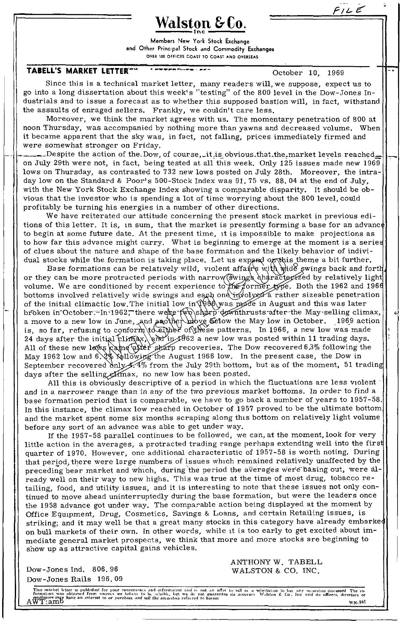 Tabell's Market Letter - October 10, 1969