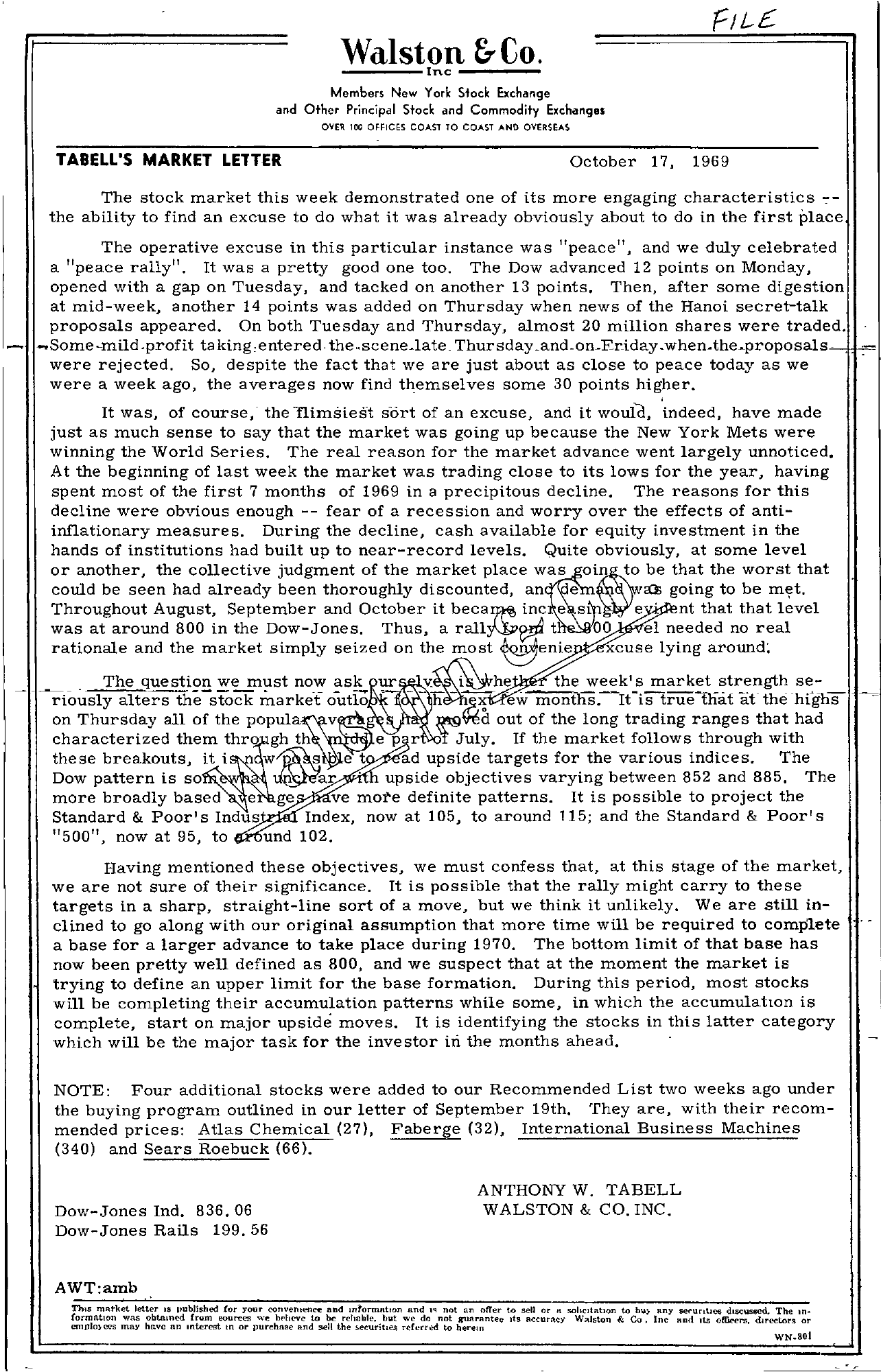 Tabell's Market Letter - October 17, 1969