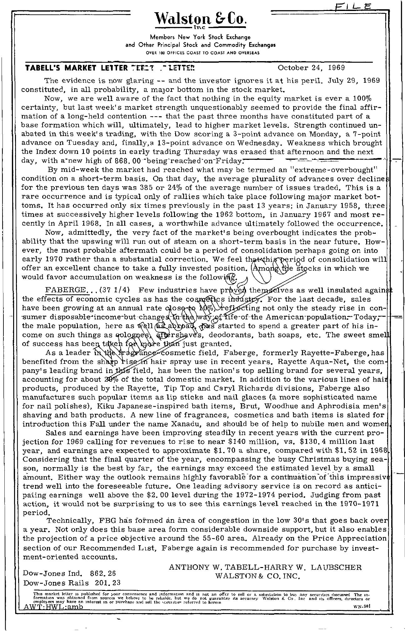 Tabell's Market Letter - October 24, 1969