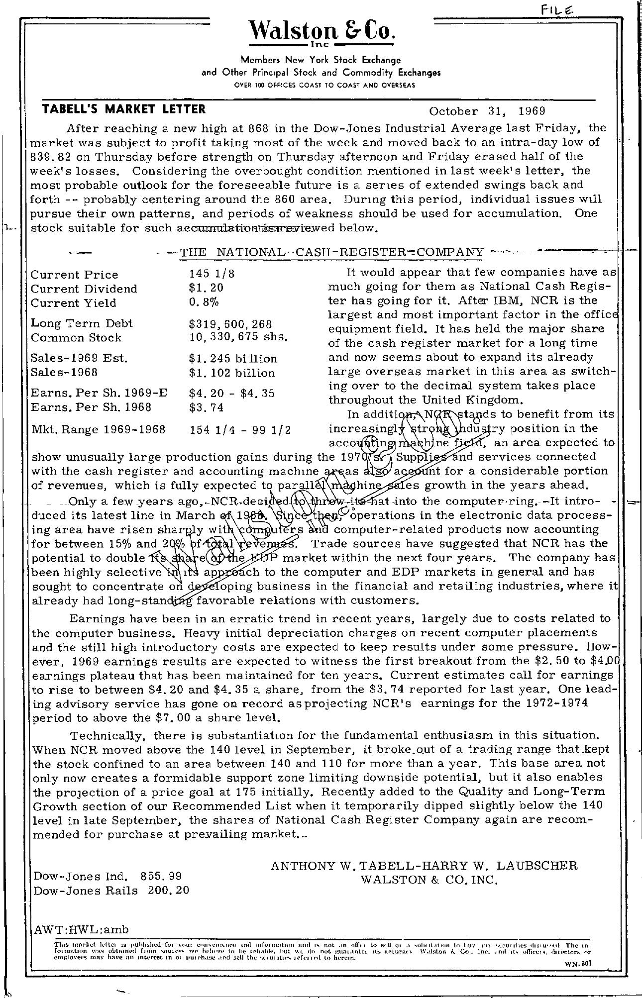 Tabell's Market Letter - October 31, 1969