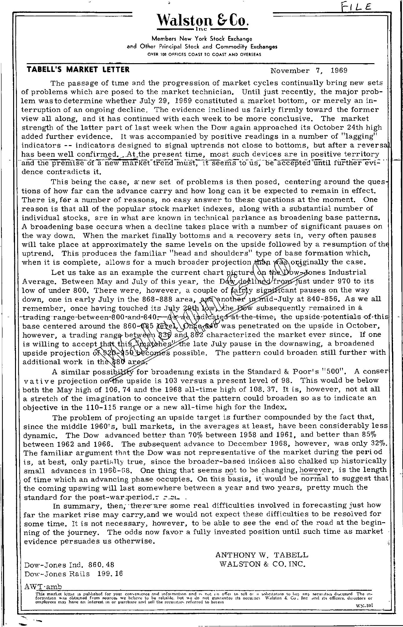 Tabell's Market Letter - November 07, 1969
