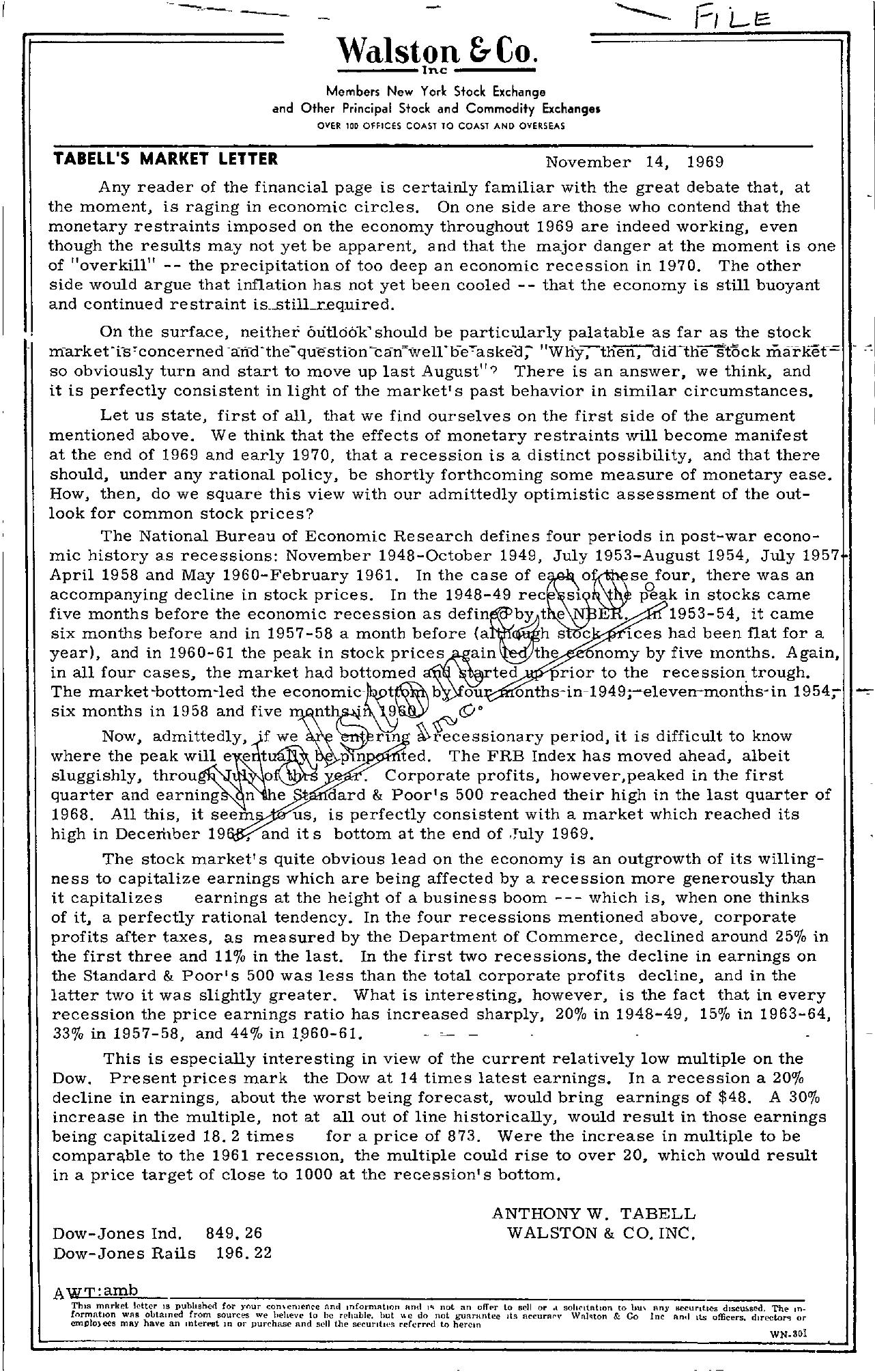 Tabell's Market Letter - November 14, 1969