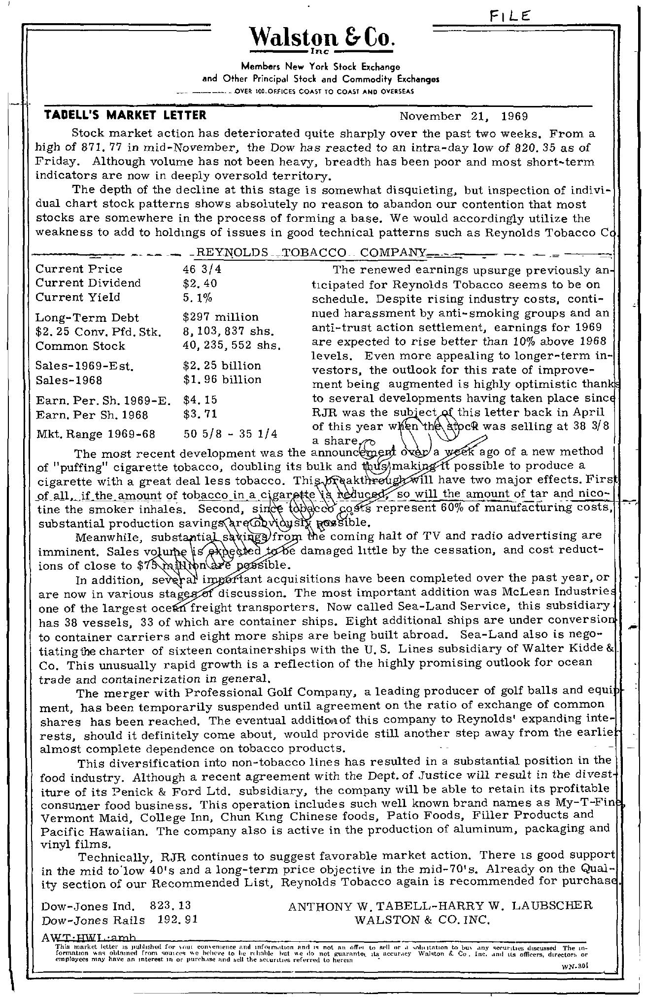 Tabell's Market Letter - November 21, 1969