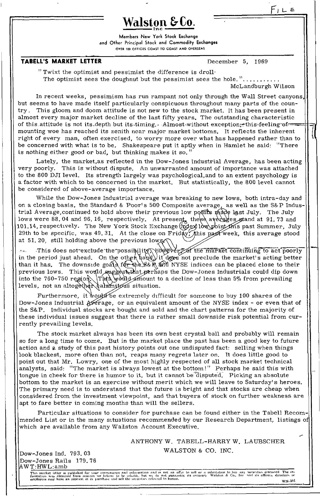 Tabell's Market Letter - December 05, 1969
