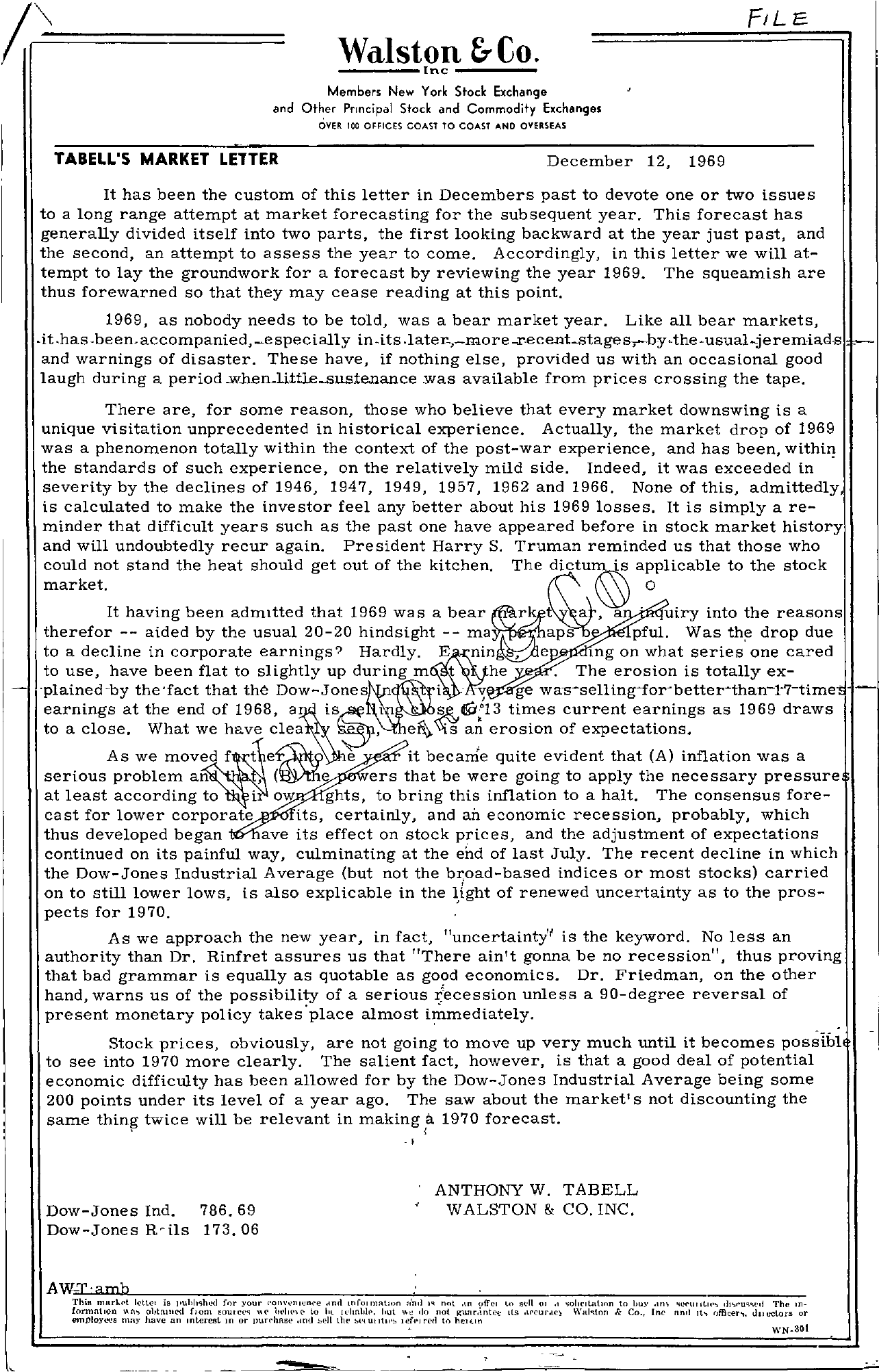 Tabell's Market Letter - December 12, 1969