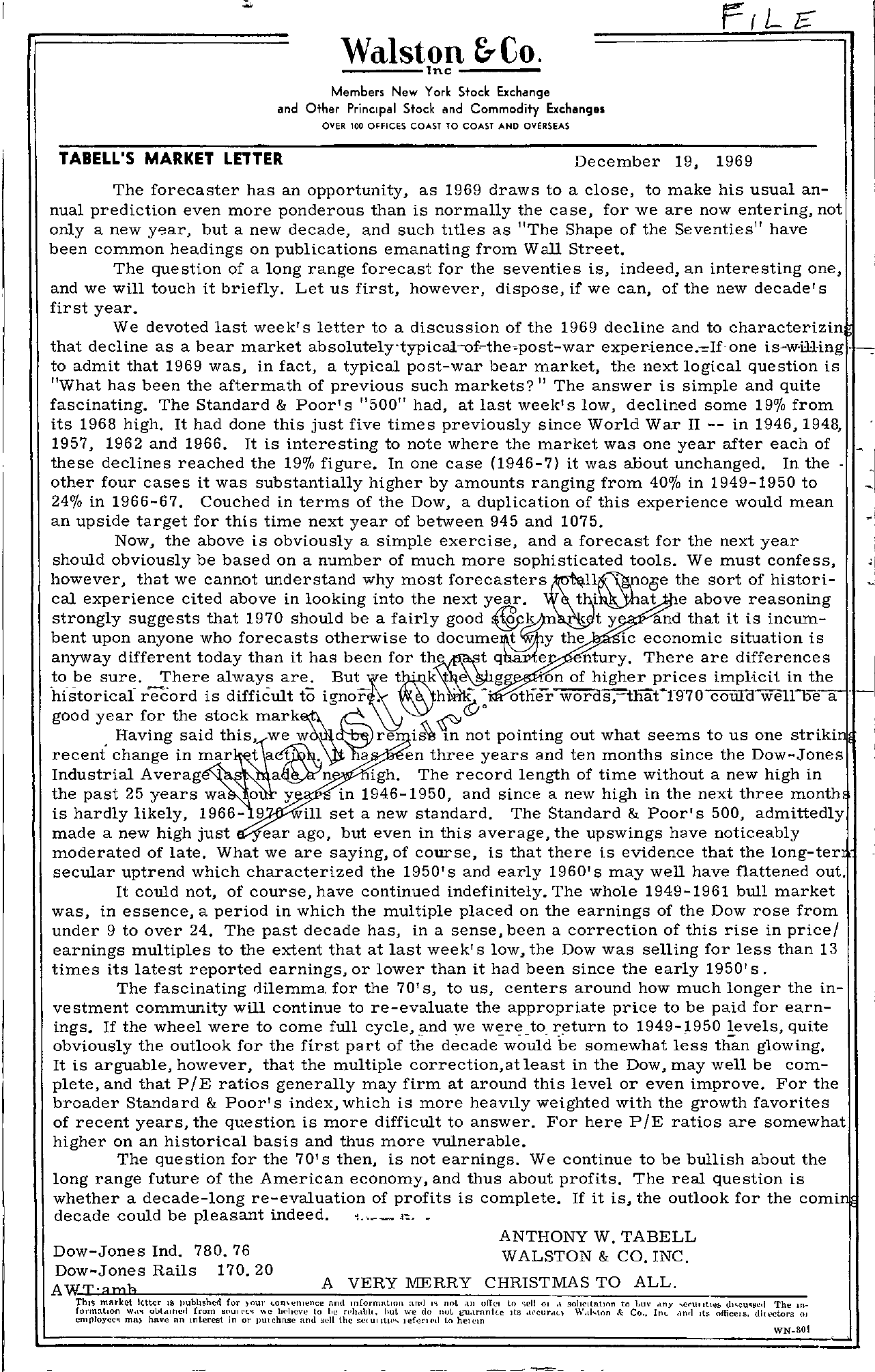 Tabell's Market Letter - December 19, 1969