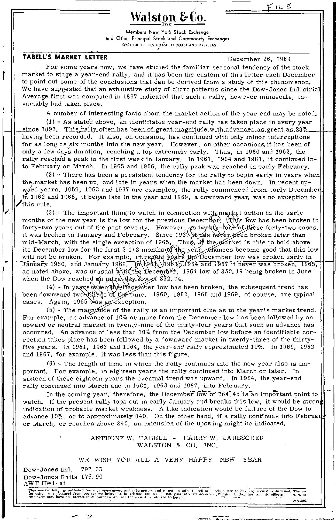 Tabell's Market Letter - December 26, 1969