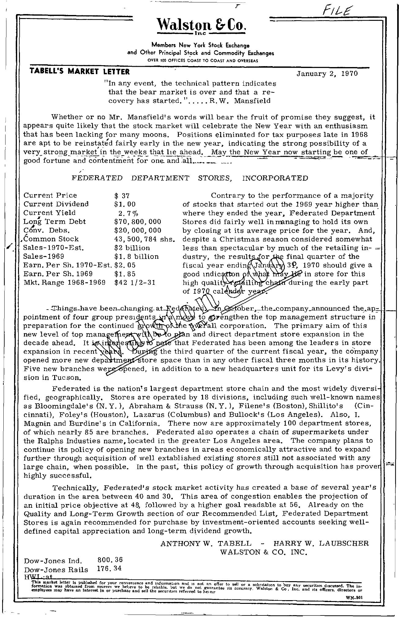 Tabell's Market Letter - January 02, 1970
