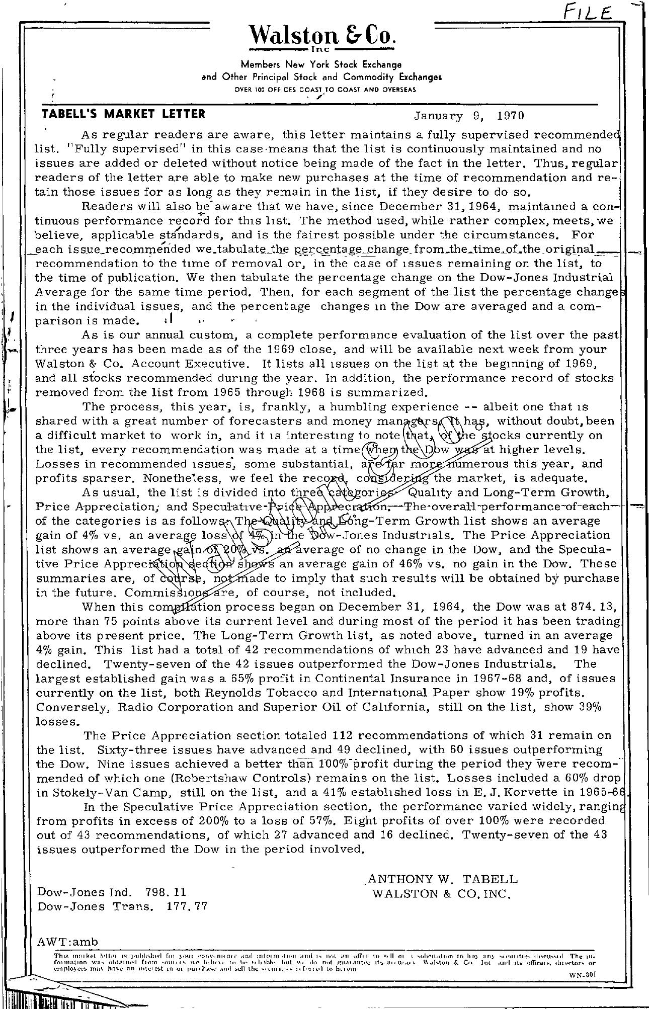 Tabell's Market Letter - January 09, 1970