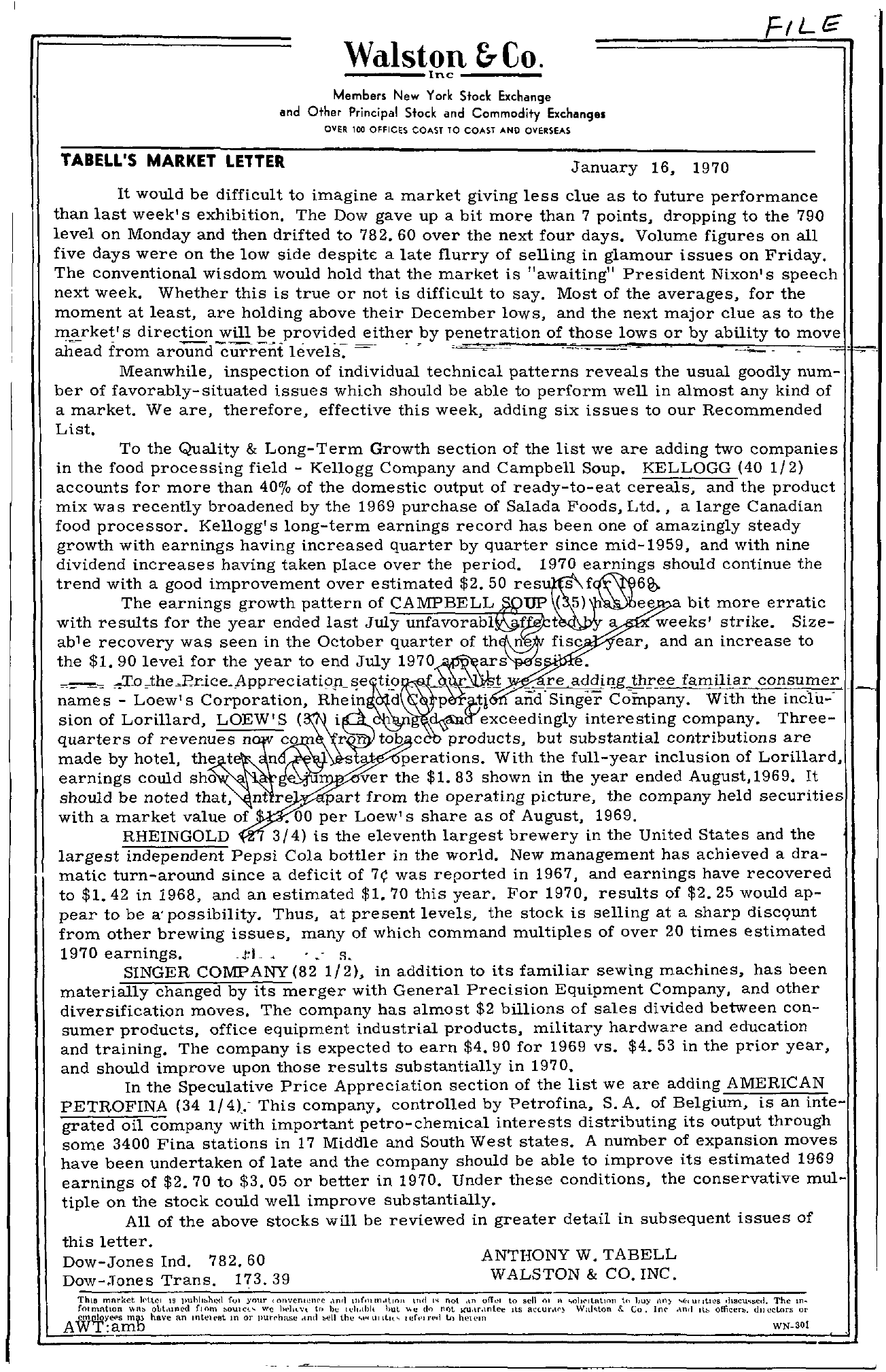 Tabell's Market Letter - January 16, 1970