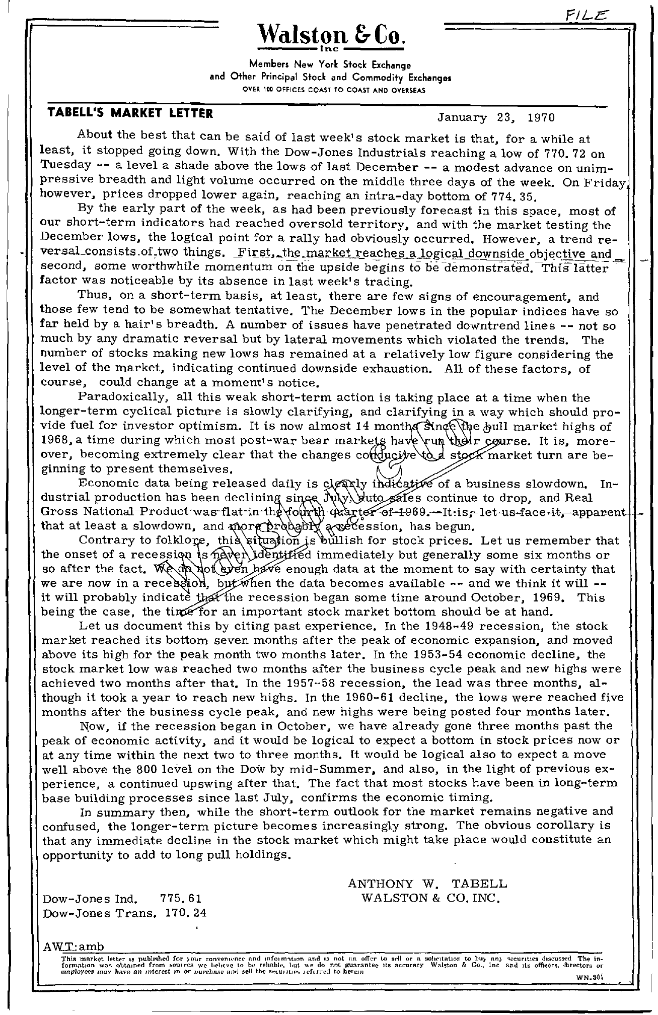 Tabell's Market Letter - January 23, 1970